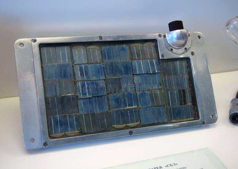 A bateria solar SB-3 usou-se na primeira nave espacial imagem de stock royalty free