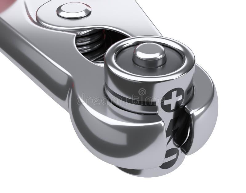 Bateria zaciska w kontaktowej klamerce Uprawnienie nadzwyczajne dostawy pojęcie ilustracja wektor