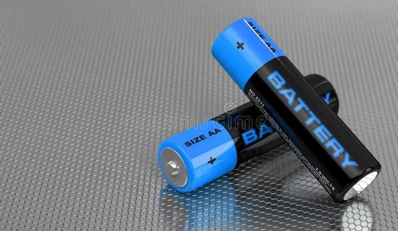 Baterias AA genéricas com o rótulo 'Bateria' ilustração stock