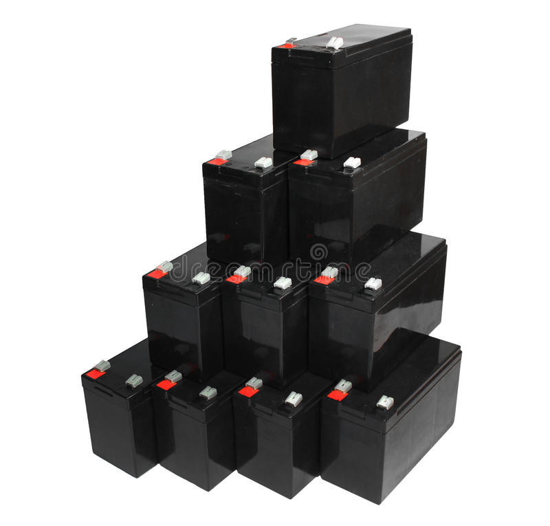 Baterias acidificadas ao chumbo seladas no fundo branco fotos de stock