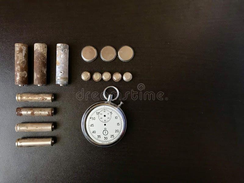 baterias Corrosão-livres Tamanho e forma diferentes fotografia de stock