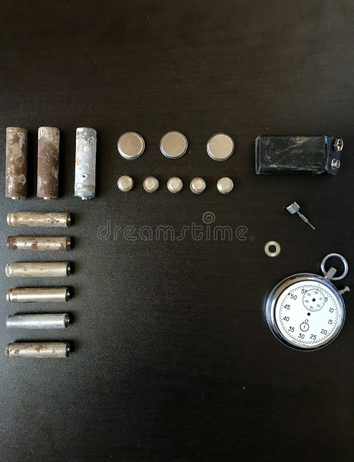 baterias Corrosão-livres Tamanho e forma diferentes imagem de stock