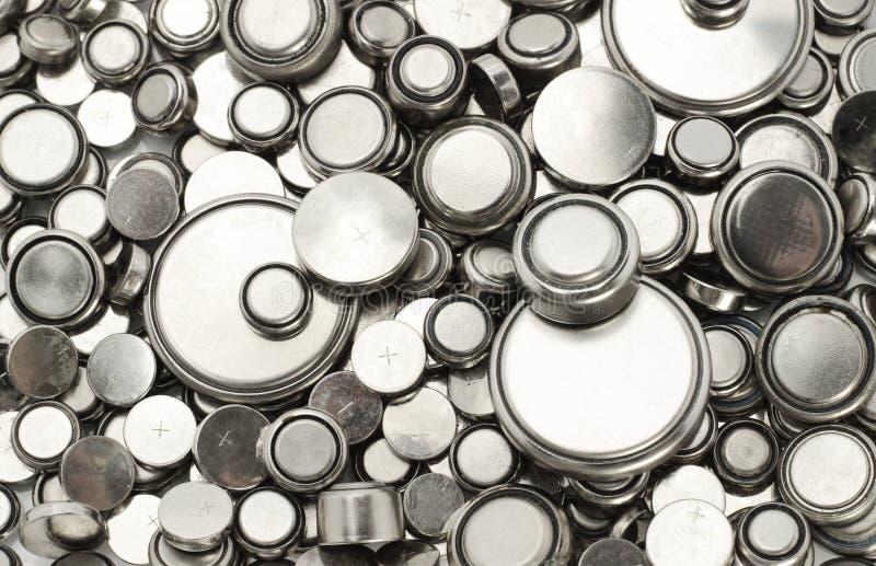 Baterias de lítio de vários tamanhos fotografia de stock