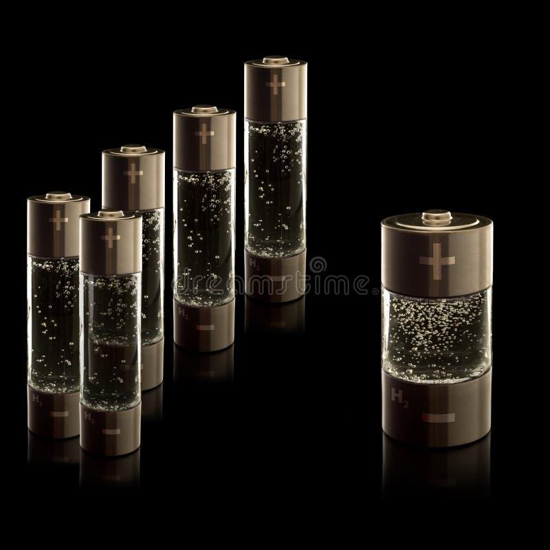 Baterias do agregado familiar do hidrogênio - AA (R6) e C (R14) ilustração stock
