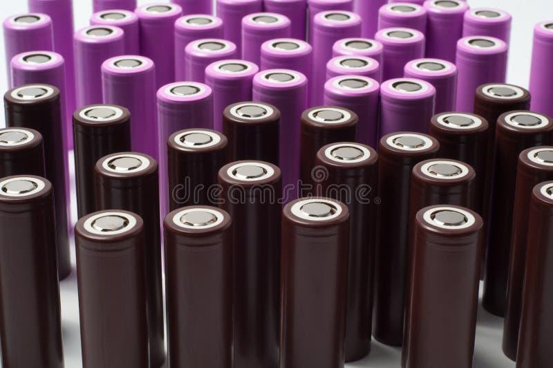 Baterias industriais do tamanho do íon 18650 do lítio imagens de stock royalty free