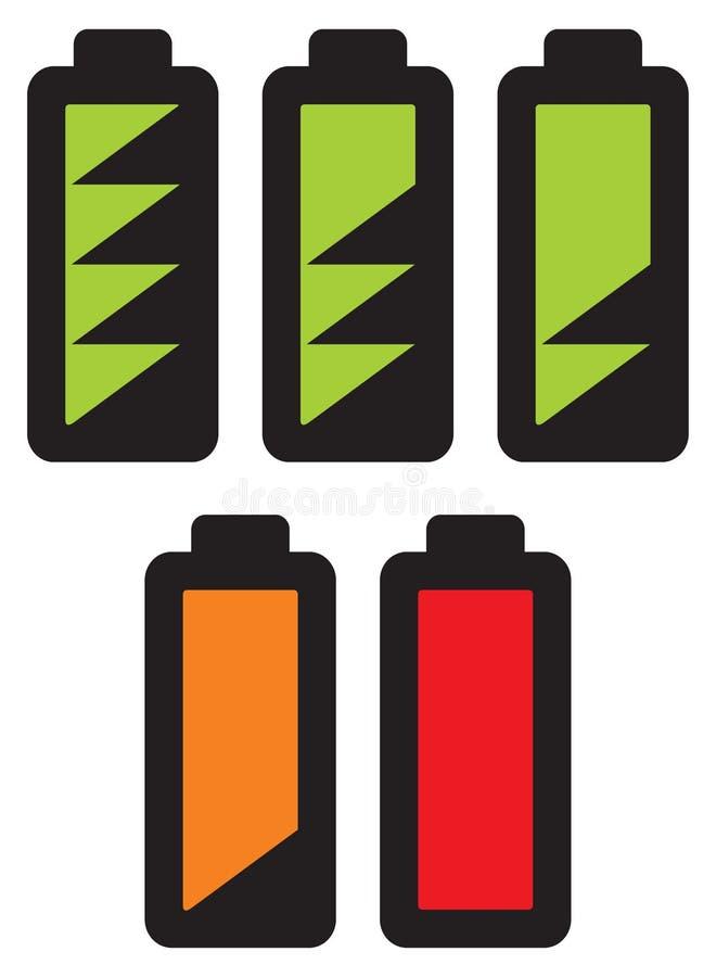 Baterie z różnymi ładunków poziomami ilustracja wektor