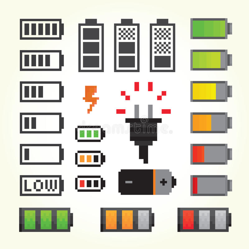 Baterii juczne ikony w piksel sztuki stylu royalty ilustracja