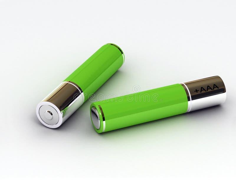 baterii zieleń dwa ilustracji