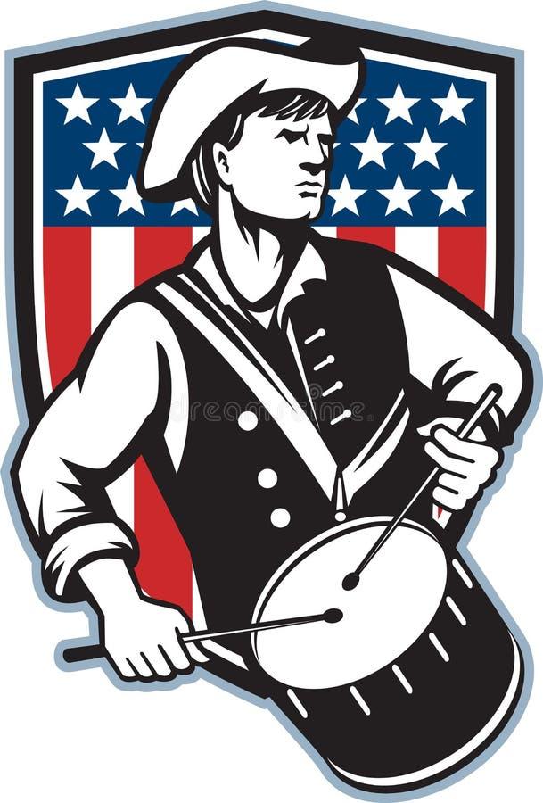 Baterista americano do patriota com bandeira ilustração stock