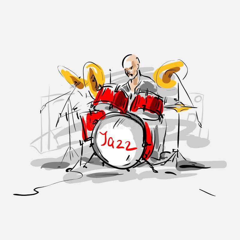 Baterista do jazz. ilustração royalty free