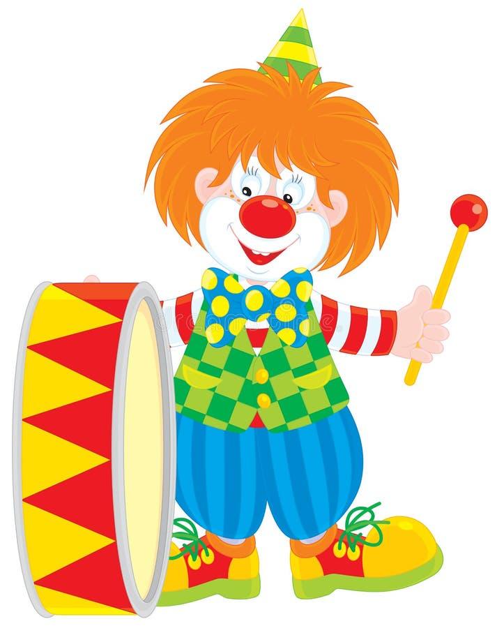Baterista do palhaço de circo ilustração royalty free