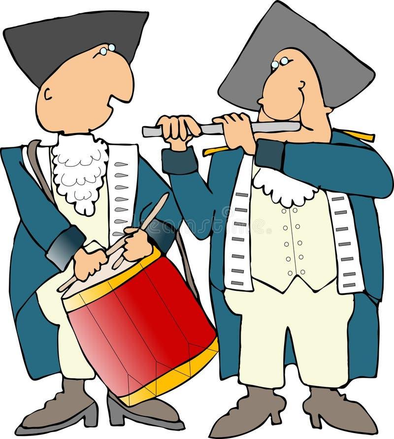 Baterista e gaiteiro revolucionários da guerra dos E.U. ilustração royalty free