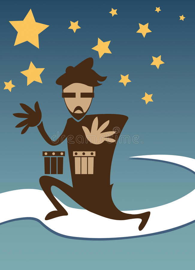 Baterista fresco Poster do Beatnik ilustração stock