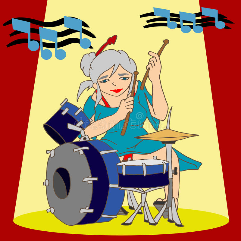 Baterista Lady do batedor ilustração stock