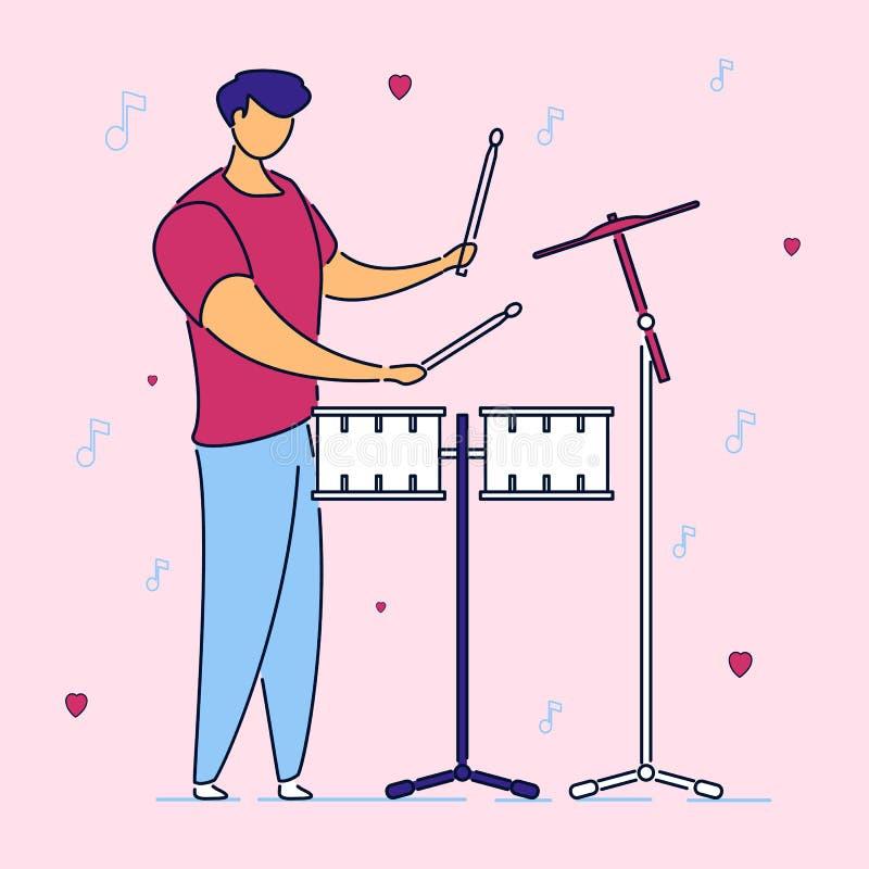 Baterista musical da faixa do personagem de banda desenhada liso moderno, estilo tirado mão Homem do músico com o instrumento dos ilustração stock