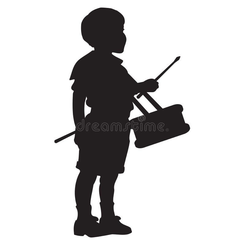 Baterista pequeno Boy Silhouette ilustração royalty free