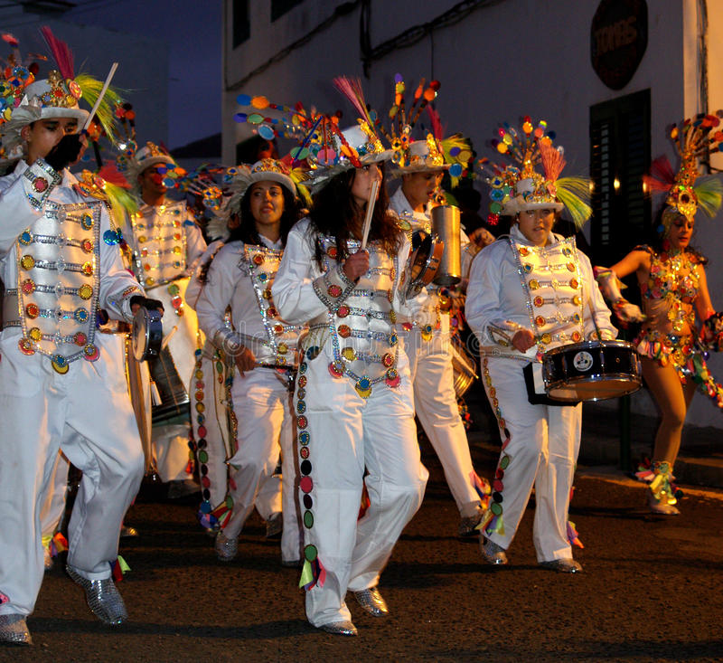 Bateristas carnaval março de 2014 Lanzarote imagem de stock royalty free