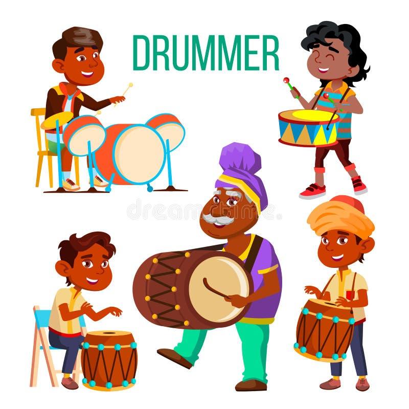 Bateristas que usam o grupo étnico dos caráteres do vetor da percussão ilustração royalty free