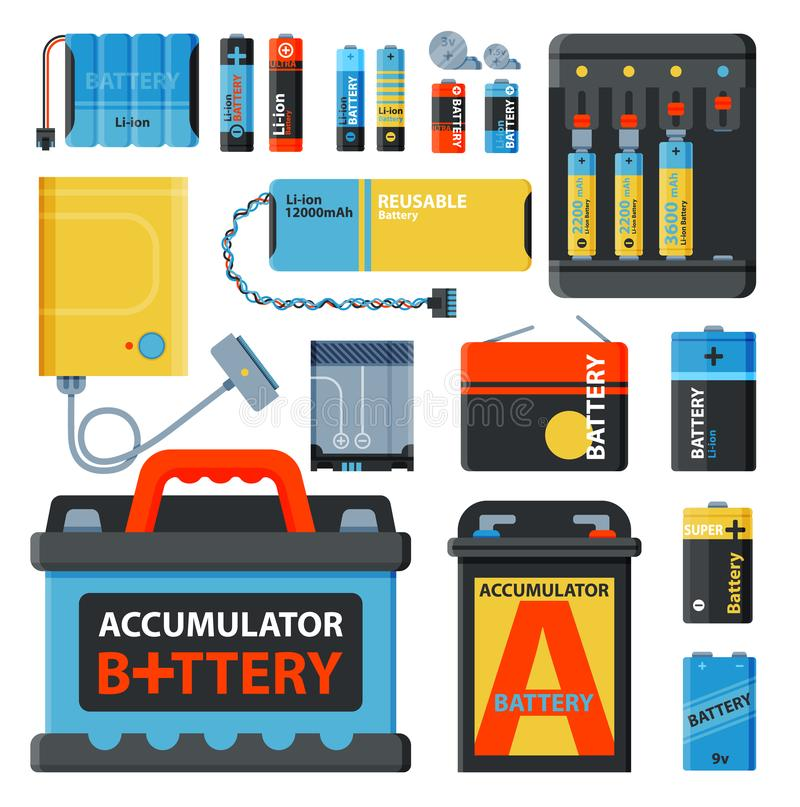 Bateryjna energia oprócz accumulator narzędzi elektryczności ładunku paliwa pozytywu dostawy i isposable bateryjnego składnika al ilustracja wektor