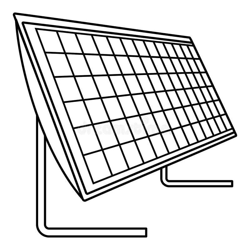 Bateryjna panel słoneczny ikona, konturu styl royalty ilustracja