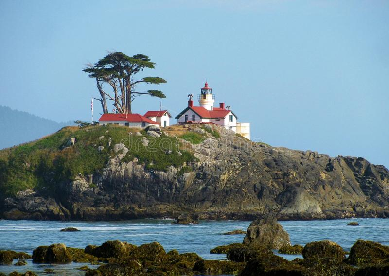Bateryjna punkt latarnia morska na wyspie w Pacyficznym oceanie z Półksiężyc miasta, Kalifornia obraz royalty free