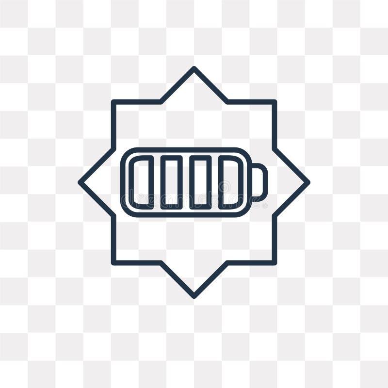 Bateryjna wektorowa ikona odizolowywająca na przejrzystym tle, liniowy b ilustracji