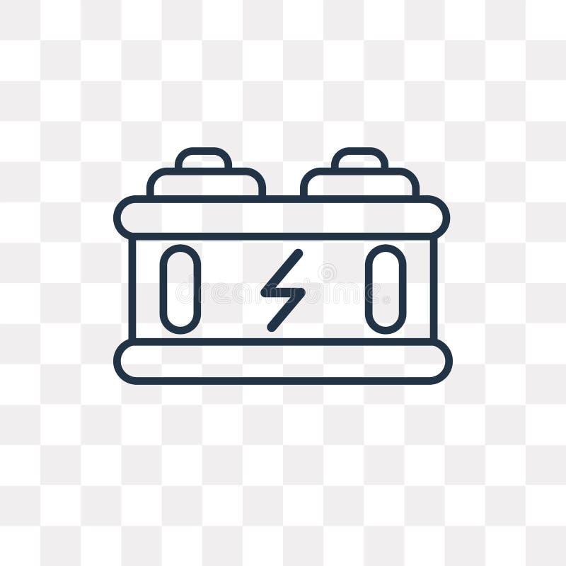 Bateryjna wektorowa ikona odizolowywająca na przejrzystym tle, liniowy b ilustracja wektor