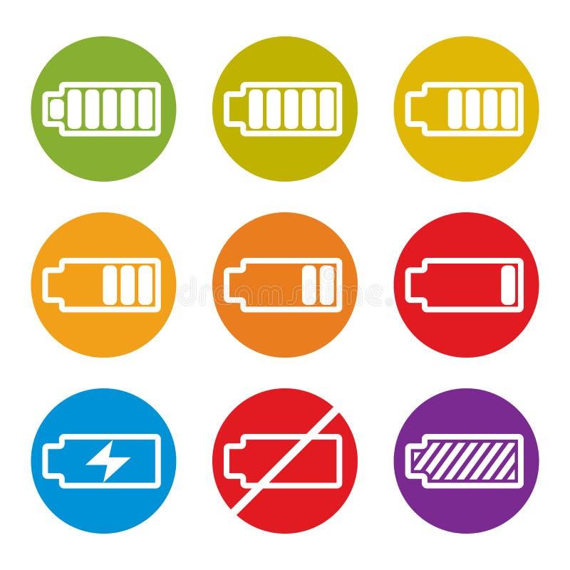 Bateryjne ładunku wskaźnika ikony odizolowywać na białym tła vect ilustracji
