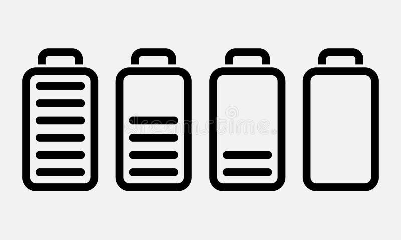 Bateryjne ikony ustawiać dla twój projekta Ładowarek fazy Kreskowej sztuki projekta wektoru ilustracja ilustracji