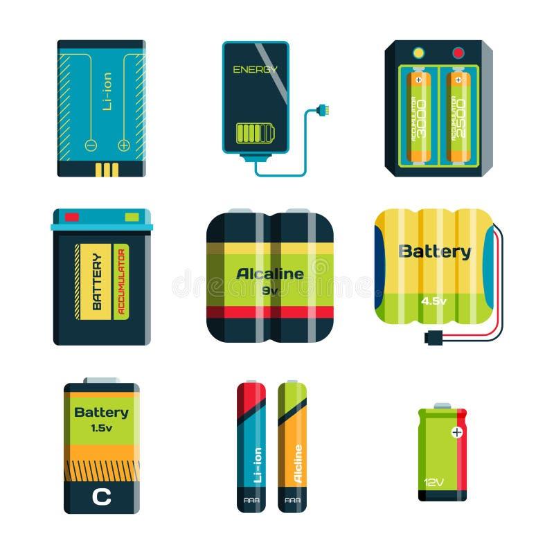 Bateryjnego energii narzędzia elektryczności ładunku paliwa pozytywu zaopatrzeniowego i isposable pokolenia składowy alkaliczny p ilustracja wektor
