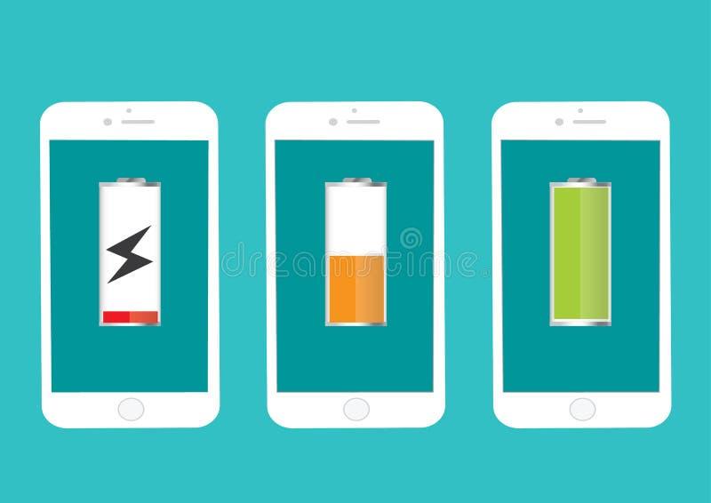 Bateryjnego telefonu komórkowego Folująca I Niska energia royalty ilustracja