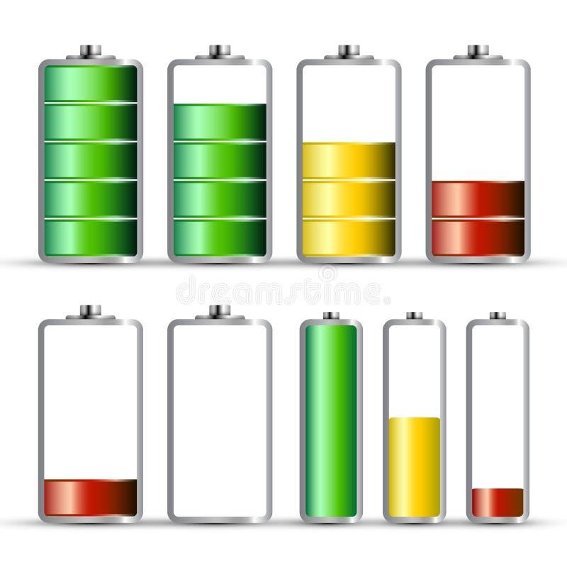Bateryjni ładunków symbole Energetyczna ikona ilustracja wektor