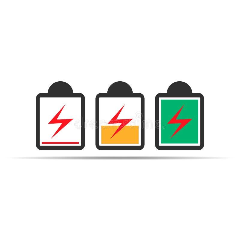 bateryjny ikona set, bateryjni statusu koloru symbole eps10 kwiat ilustracji