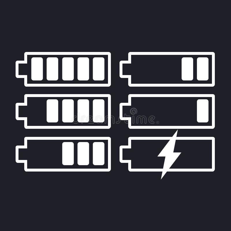 Bateryjny ikony wektorowy ustawiający na odosobnionym tle Symbole bateryjny ładunku poziom i depresja, folujący Stopień bateria ilustracji