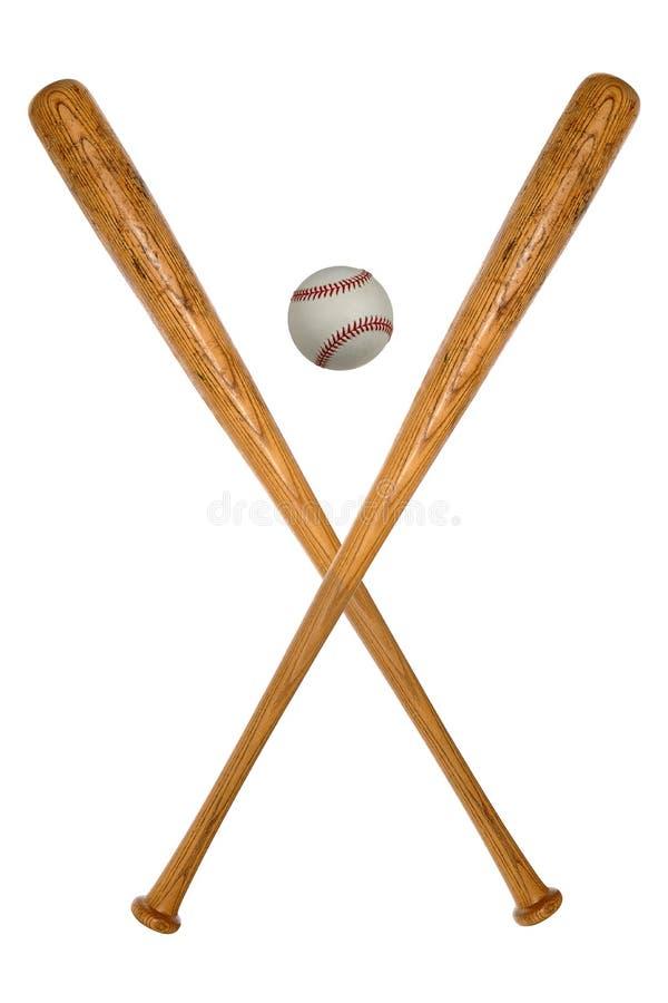Bates de béisbol y bola foto de archivo