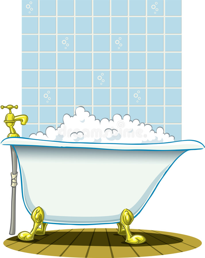 Bath. Victoria style old bath in bathroom royalty free illustration