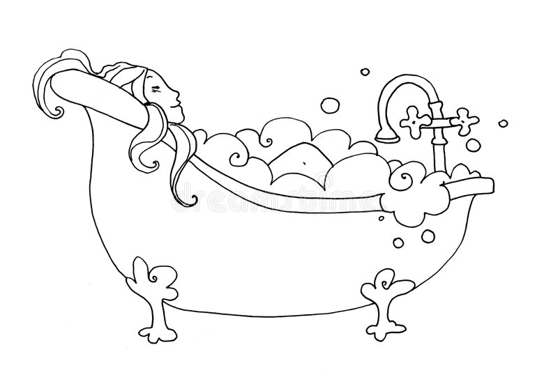 Bath. Black and white illustration of a smiling woman who take a bath vector illustration