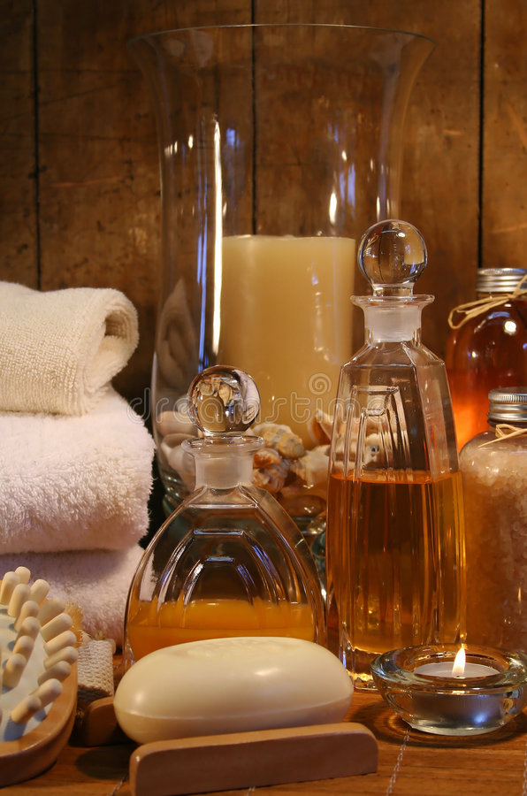 Bath accessories and products. Essentials products for a relaxing bath royalty free stock photos