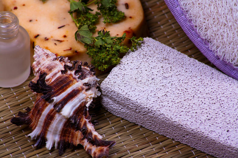 Download Bath Accessories With Pumice Stock Image - Image of accessories, background: 26962209