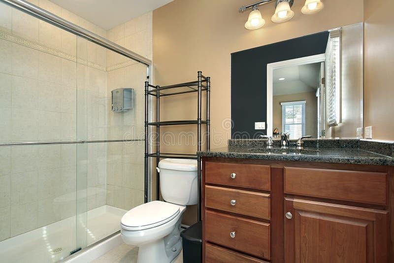 Bath avec la douche en verre photo libre de droits