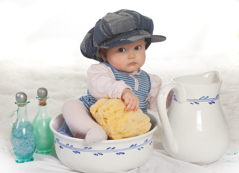 Download Bath baby stock image. Image of babies, cute, wash, looking - 14191191