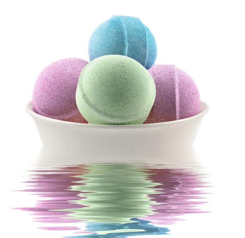 Bath balls and candle royalty free stock photo