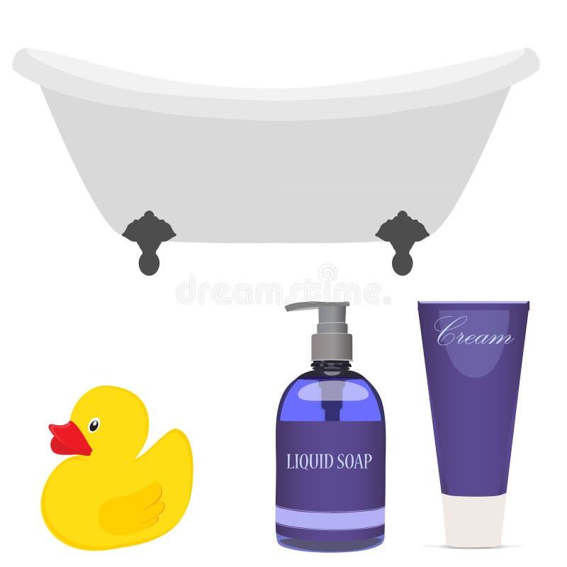 Download Bath And Bathroom Accessories Stock Illustration   Illustration Of  Bathwater, Recreation: 61739802