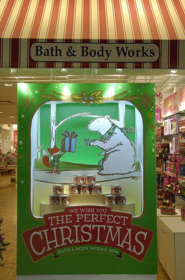 BATH & BODY WORKS. Lewiston . Idaho state. USA _Christmas sale and chritmas greetings at bath & body work store 22 December 2014. ( Photo by Francis Joseph Dean/ stock photos