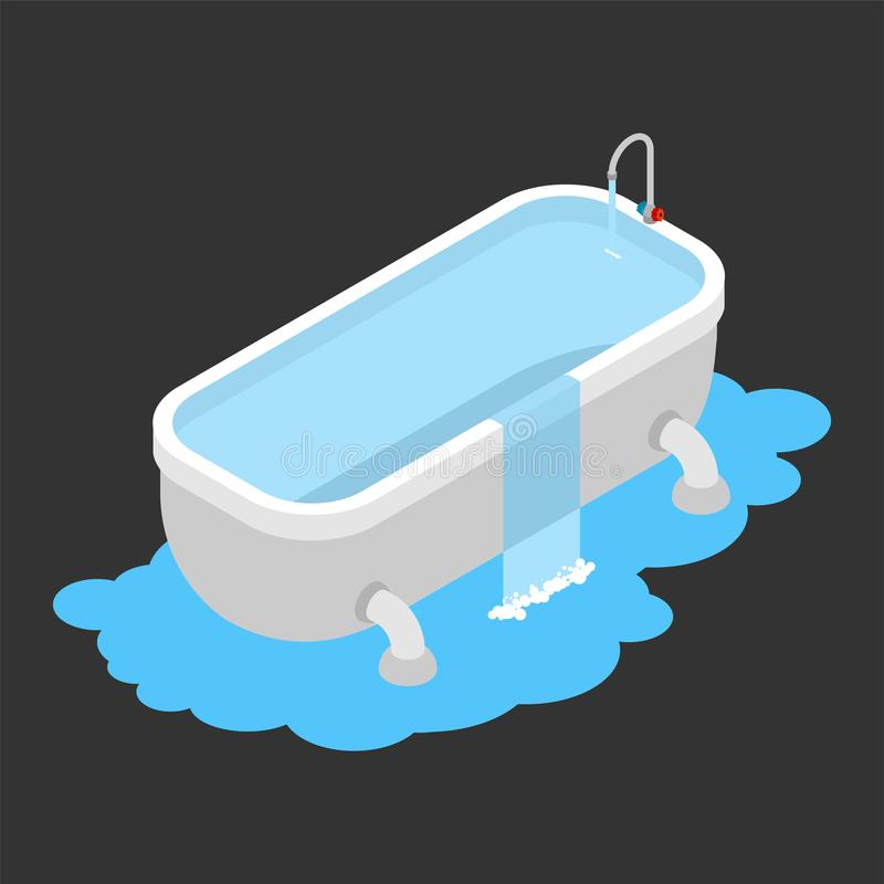 Bath clogged. Leakage canalization. Water on floor. Isometric st vector illustration