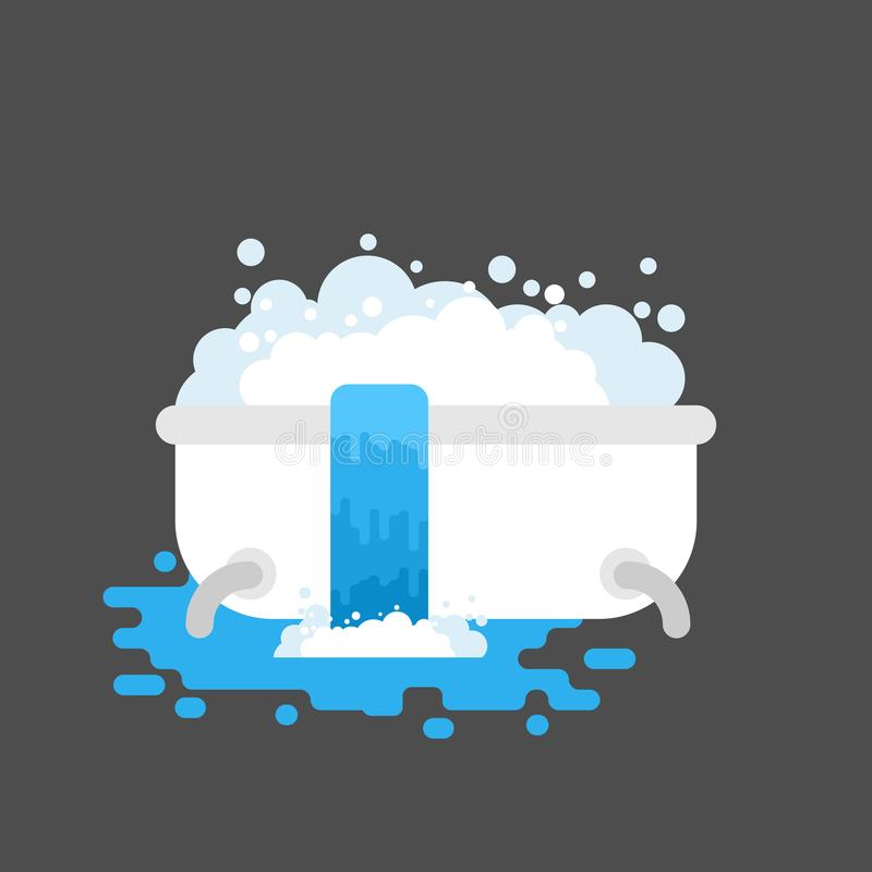 Bath is clogged with water leaking out. Vector illustration royalty free illustration