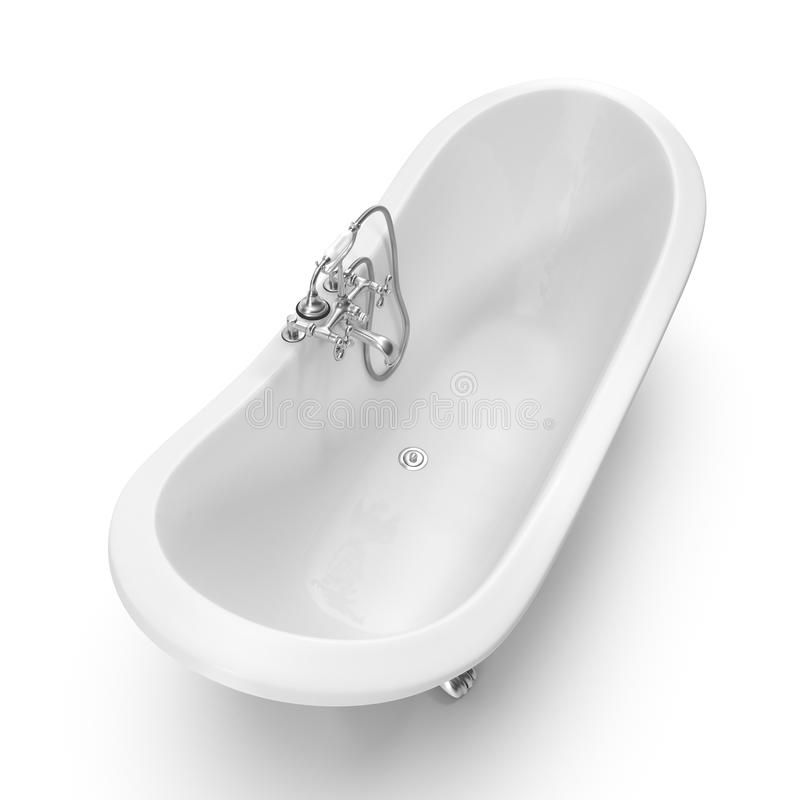 Bath de luxe de Clawfoot de pantoufle de double de vintage sur le blanc photographie stock libre de droits