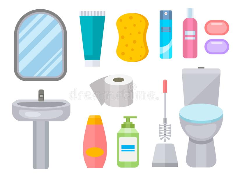 Bath equipment icon toilet bowl bathroom clean flat style illustration hygiene design. Isolated vector symbols of mirror, toilet sink shower soap towel faucet vector illustration