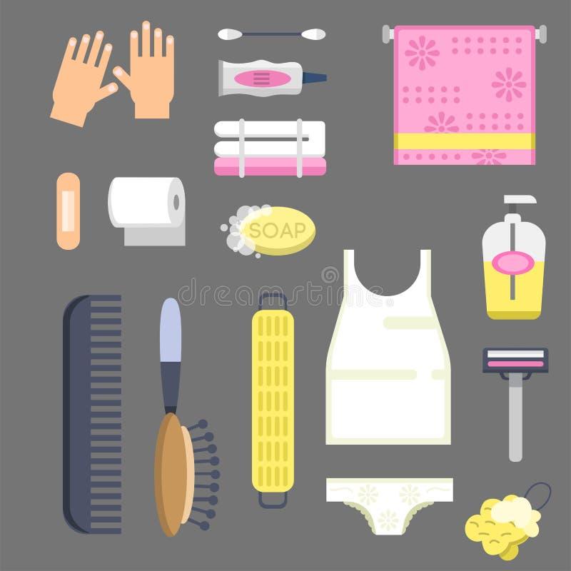 Bath equipment icons modern shower colorful illustration for bathroom interior hygiene vector design. stock illustration