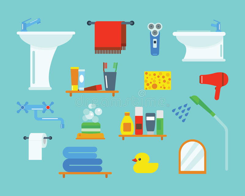Bath equipment icons shower flat style colorful clip art illustration for bathroom hygiene vector design. Bath equipment icons made in modern shower flat style vector illustration